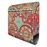 Banjado Design Briefkasten personalisiert mit Motiv Rosetten | Stahl pulverbeschichtet mit Zeitungsrolle | Größe 39x47x14cm, 2 Schlüssel, A4 Einwurf, inkl. Montagematerial